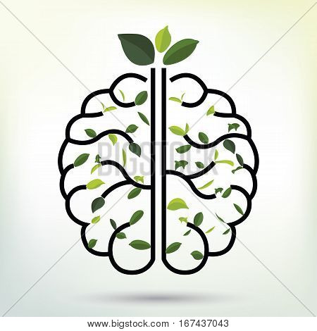 Brain with Green leaf. Black outline vector illustration. Human brain. Medical flat illustration. Health care. Tree branches like the brain. Branches with leaves.