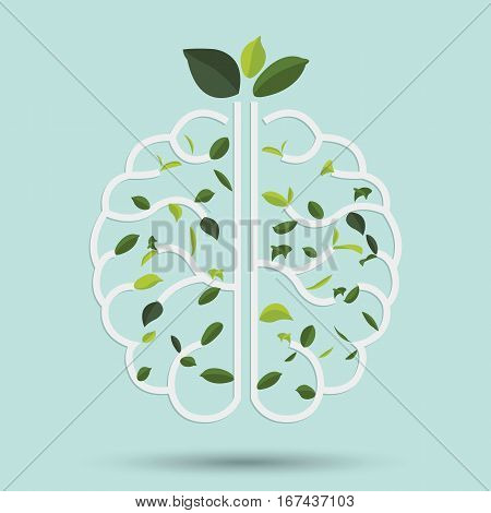 Brain with Green leaf. Gray outline vector illustration. Human brain. Medical flat illustration. Health care. Tree branches like the brain. Branches with leaves.