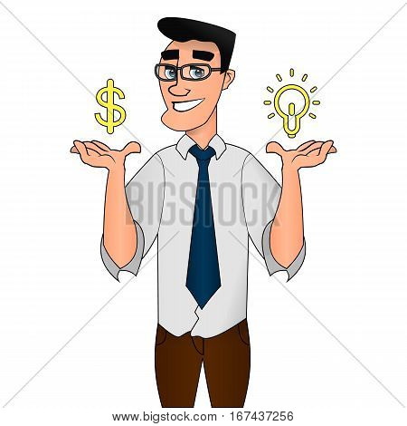 businessman character with bulb. Creative idea concept. vector illustration. cartoon businessman Idea moment