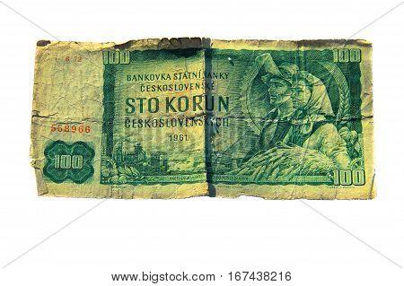 100 koruna bill of Czechoslovakia isolated on the white background