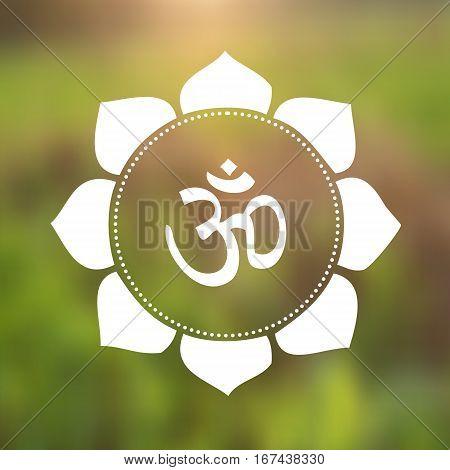 Vector Om Symbol (Hindu) in Lotus Flower Mandala Illustration