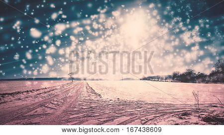 Abstract winter wonderland in Germany postcard style