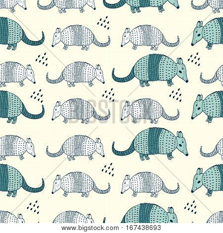 Colorful seamless pattern with armadillos. Illustration in vector format
