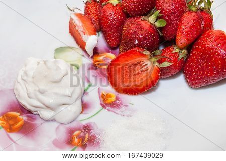 fresh red strawberries are white background close up