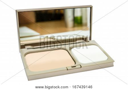 Makeup powder in beige box isolated on white background