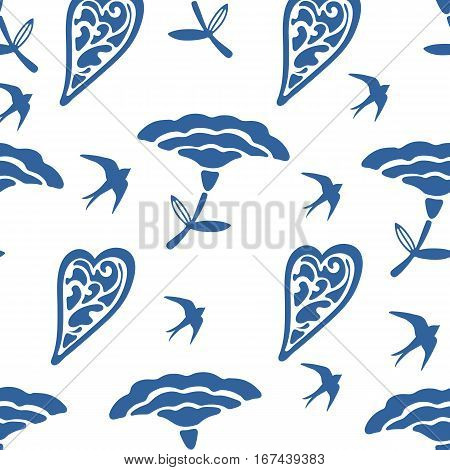 Seamless pattern with hearts flowers and swallows. vector illustration