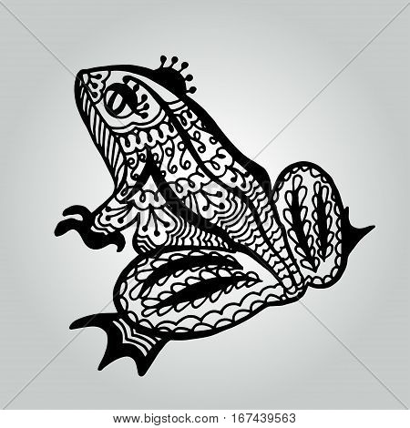 Handdrawing doodle frog. Wildlife collection. Vector illustration