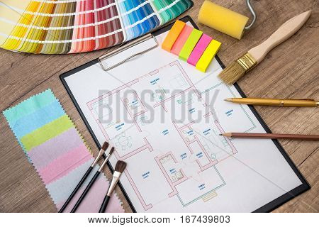 architectural drawing with work tools and accessories for home renovation