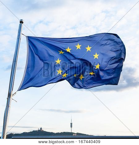 European Union Flag Fluttering On Wind