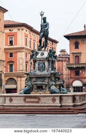Fountain Neptune On Piazza Del Nettuno In Bologna