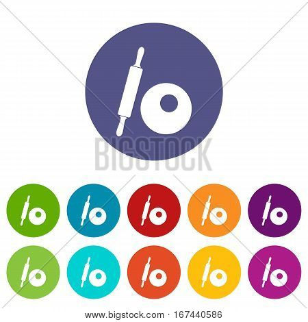 Rolling pin and dough set icons in different colors isolated on white background