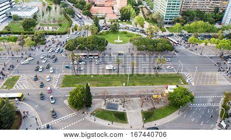 Above View Square Placa De Pius Xii And Avenue