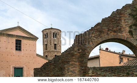 Ancient Houses, Walls And Towers In Ravenna City