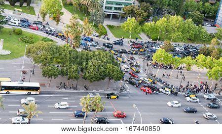 Car Traffic On Avinguda Diagonal In Barcelona
