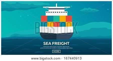 Sea Transportation Logistic. Sea Freight. Cargo Ship. Vector Flat Illustration.
