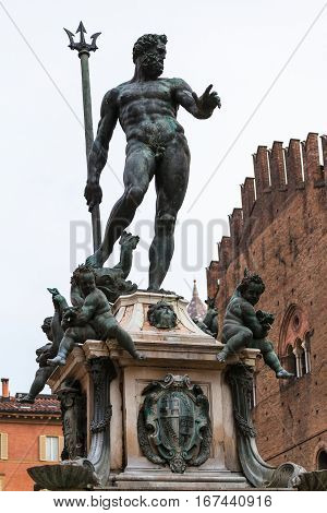 Figure Of Neptune On Fountain In Bologna