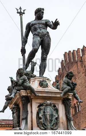 Sculpture Of Neptune On Fountain In Bologna