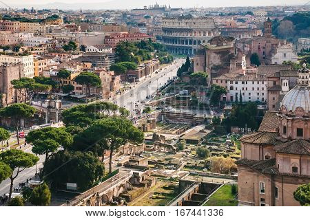 Above View Of Roman Forum And Colosseum In Rome