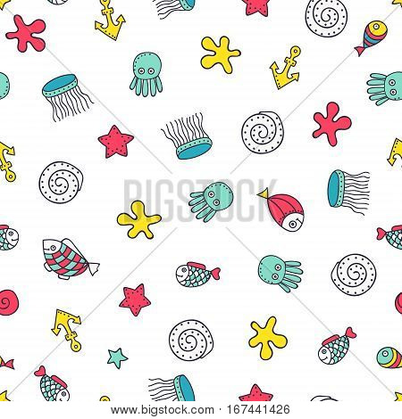 Cute sea elements. Vector seamless pattern with hand drawn marine objects. Doodle fish sea star jellyfish octopus shell anchor on white background.