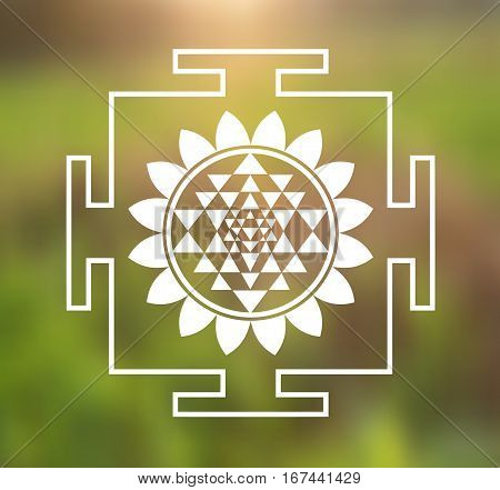 Vector Sri Yantra Illustration with Lotus Flower on a Natural Background