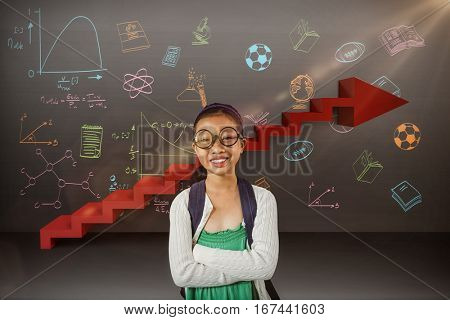 Girl smiling while standing with arms crossed against digitally generated image of steps moving up