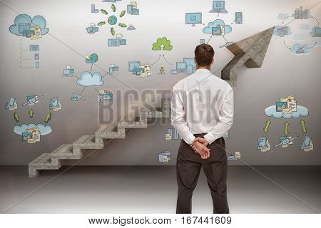 Businessman turning his back to camera against digital composite image of gray steps moving up