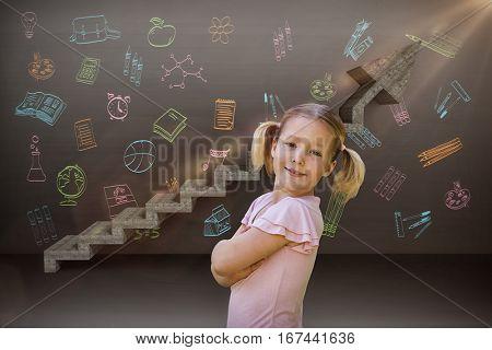 Portrait of a smiling girl at park against digital composite image of gray steps moving up