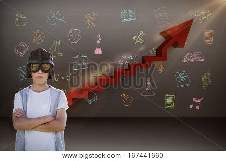 Boy pretending to be an aviation pilot against digital composite image of red steps moving up