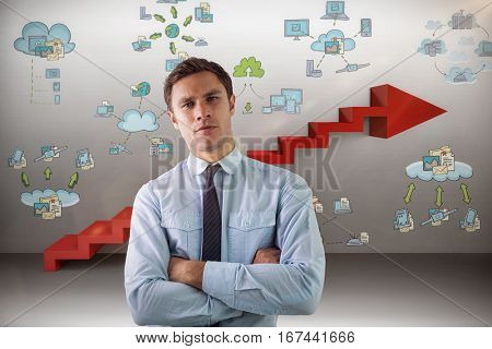 Elegant businessman with arms crossed in office against digitally generated image of steps moving up