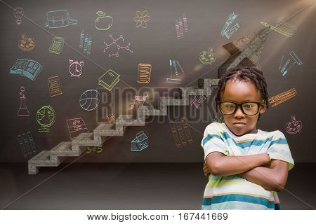 Young boy standing with arms crossed against digital composite image of gray steps moving up