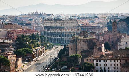 Above View Of Via Dei Fori Imperiali And Coliseum
