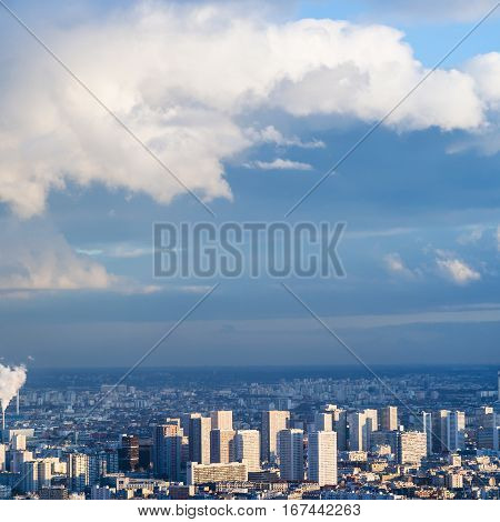 Blue Sky With Clouds Over Urban Houses In Paris
