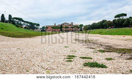 Area Of Roman Circus Maximus In Rome City
