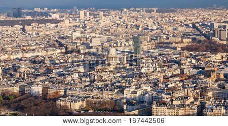 Above View Of In Paris City With Pantheon