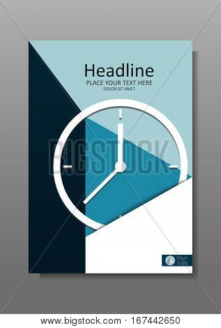 Business Cover design A4 with clock. Annual report with geometrical figures. Good for financial business academic and journals and magazines. Vector Illustration.