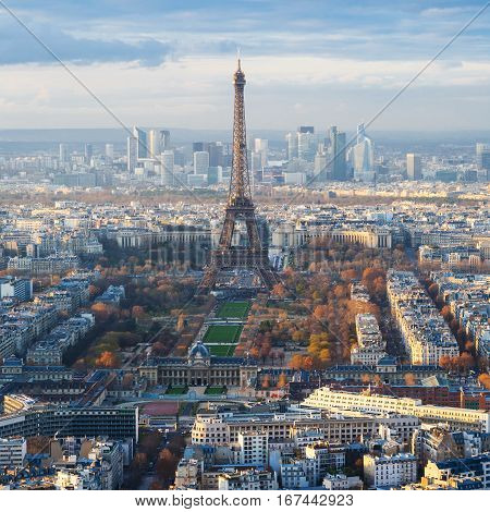 Paris Skyline With Eiffel Tower Over Champ De Mars