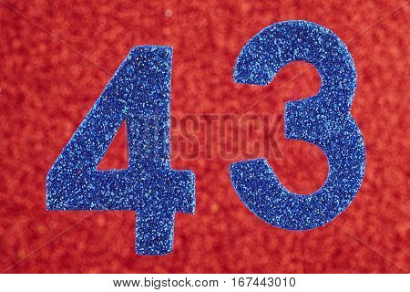 Number forty-three blue color over a red background. Anniversary. Horizontal