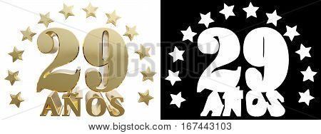 Golden digit twenty nine and the word of the year decorated with stars. Translated from the Spanish. 3D illustration