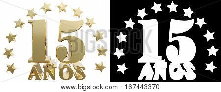 Golden digit fifteen and the word of the year decorated with stars. Translated from the Spanish. 3D illustration