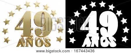 Golden digit orty nine and the word of the year decorated with stars. Translated from the Spanish. 3D illustration