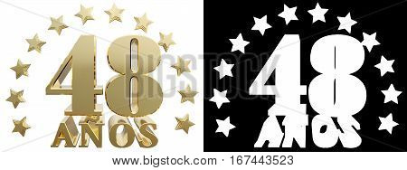 Golden digit forty eight and the word of the year decorated with stars. Translated from the Spanish. 3D illustration
