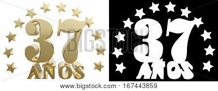 Golden digit thirty seven and the word of the year decorated with stars. Translated from the Spanish. 3D illustration