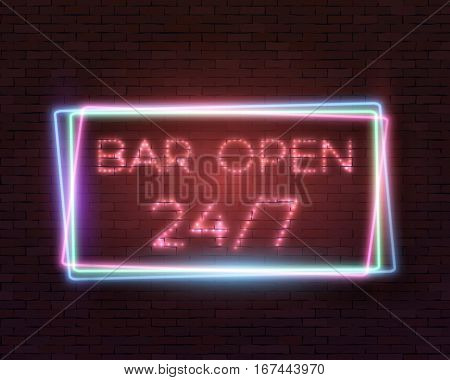 Illustration of Realistic Vector Neon Sign. Open 24 Hours Glowing Neon Frame. 24 7 Retro Neon Sign