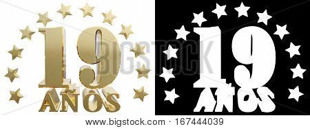 Golden digit nineteen and the word of the year decorated with stars. Translated from the Spanish. 3D illustration