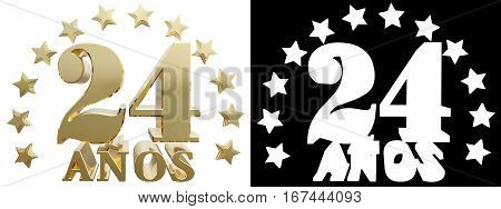 Golden digit twenty four and the word of the year decorated with stars. Translated from the Spanish. 3D illustration