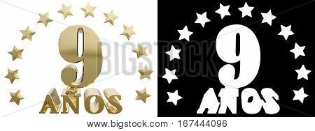 Golden digit nine and the word of the year decorated with stars. Translated from the Spanish. 3D illustration