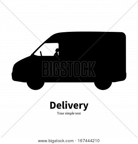 Vector illustration of black silhouette of a truck delivery. Isolated on white background. Freight car side view, profile. Logo icon truck for transportation.