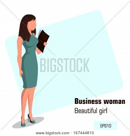 Young cartoon businesswoman in office dress holding document case. Beautiful girl preparing for meeting. Isometric business woman with 3D effect for infographic design element. Faceless. Vector