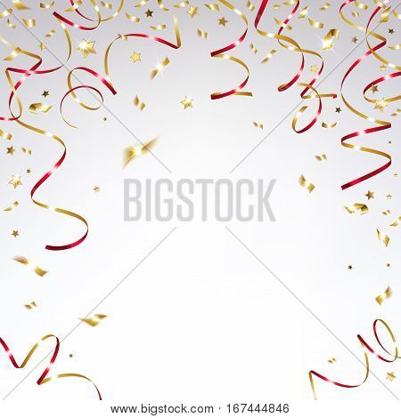 congratulatory background with gold confetti and festive red ribbons