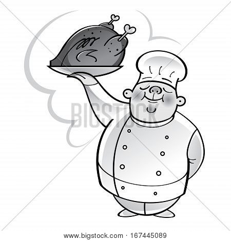 Chef cook with grilled chicken on plate